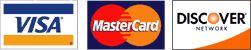 Visa, Mastercard, Discover, AmericanExpress